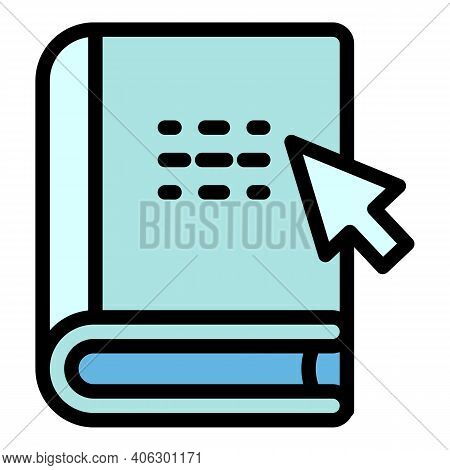 Interactive Learning Online Book Icon. Outline Interactive Learning Online Book Vector Icon For Web