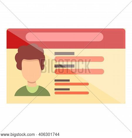 Id Card Pass Icon. Cartoon Of Id Card Pass Vector Icon For Web Design Isolated On White Background