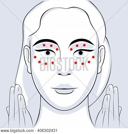Young Woman Face With Instructions For Facial Acupressure Vector Illustration