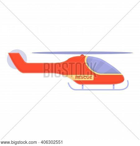 Help Rescue Helicopter Icon. Cartoon Of Help Rescue Helicopter Vector Icon For Web Design Isolated O
