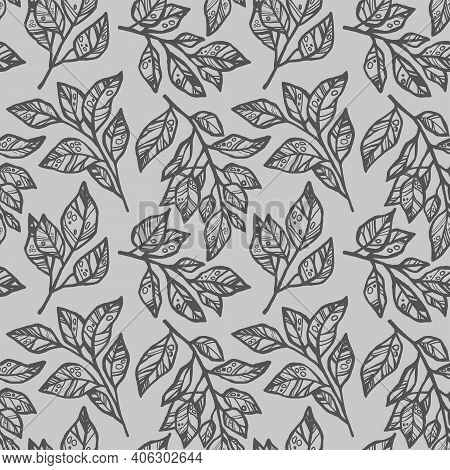 Colorless Design Quick  Freehand Sketch Seamless Pattern With Abstract Leaves On A Gray Background