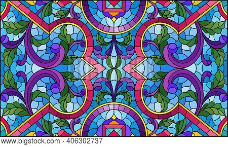 Illustration In Stained Glass Style With Abstract Flowers, Leaves And Curls On A Blue Background, Re
