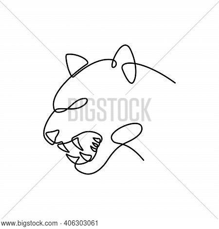 Tiger Vector. Tiger Head Continuous Line. Tiger Head Illustration. Tiger Symbol. Tiger Graphic Templ
