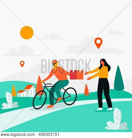 Delivery Man Delivering Product With Cycle Illustration Concept Vector