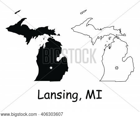 Michigan Mi State Map Usa With Capital City Star At Lansing. Black Silhouette And Outline Isolated O