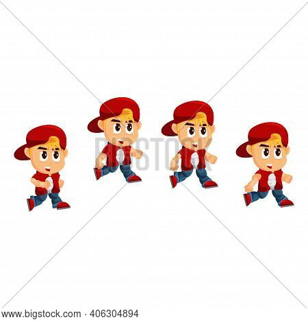 Boy Character With Hat Jump Game Kits Adventure Design Sprite