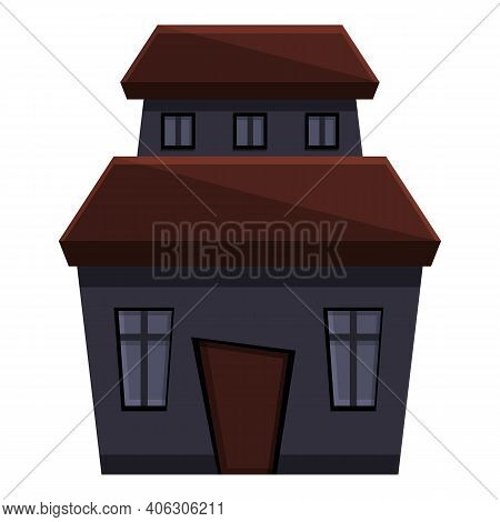 Ghost Creepy House Icon. Cartoon Of Ghost Creepy House Vector Icon For Web Design Isolated On White