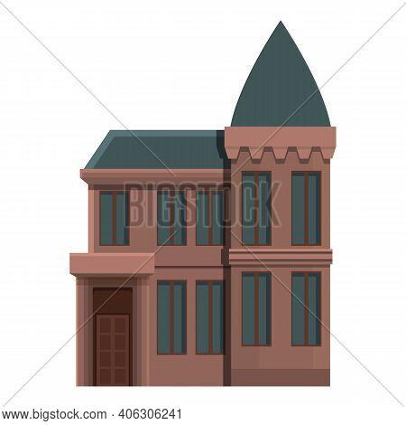 Horror Creepy House Icon. Cartoon Of Horror Creepy House Vector Icon For Web Design Isolated On Whit