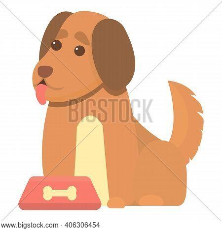 Playful Dog Waiting Food Icon. Cartoon Of Playful Dog Waiting Food Vector Icon For Web Design Isolat