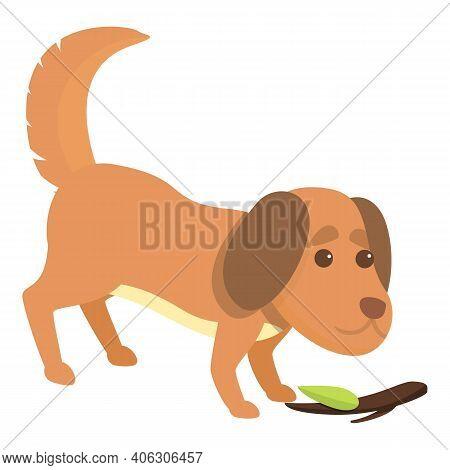 Playful Dog Wood Stick Icon. Cartoon Of Playful Dog Wood Stick Vector Icon For Web Design Isolated O