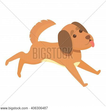 Running Playful Dog Icon. Cartoon Of Running Playful Dog Vector Icon For Web Design Isolated On Whit