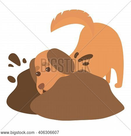Playful Dog Searching In Ground Icon. Cartoon Of Playful Dog Searching In Ground Vector Icon For Web