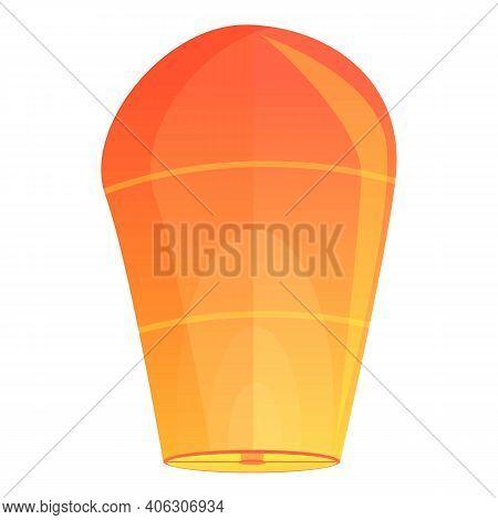Orange Floating Lantern Icon. Cartoon Of Orange Floating Lantern Vector Icon For Web Design Isolated