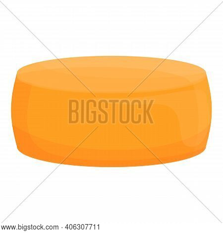 Dairy Round Cheese Icon. Cartoon Of Dairy Round Cheese Vector Icon For Web Design Isolated On White