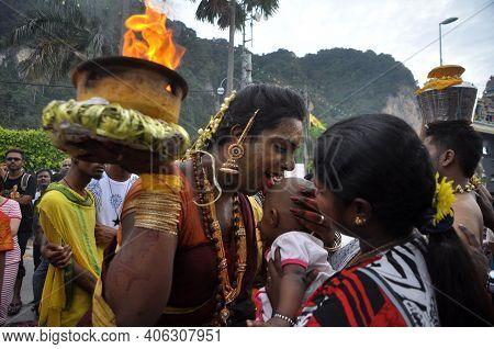 Kuala Lumpur, Malaysia - February 3, 2015: Thaipusam Devotion In Batu Caves, Kuala Lumpur. Thaipusam