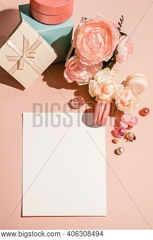 Abstract Background With Flowers, Gifts Boxes And A Template For Cards, Invitations In Pastel Muted