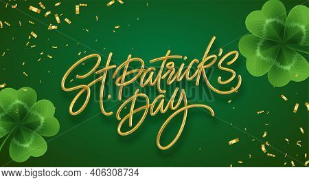 Golden Realistic Lettering Happy St. Patricks Day With Realistic Clover Leaves Background. Backgroun