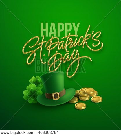 Happy St. Patricks Day Greeting Background For Postcard, Banner, Poster. Leprechaun Hat With Clover