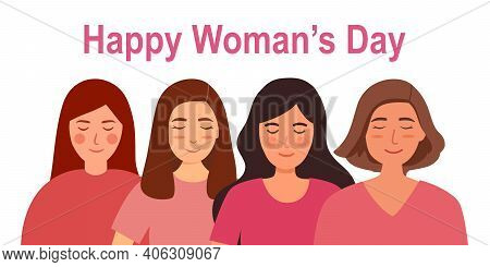 Women In Pink Dresses In Flat Design. Happy Woman's Day. International Woman Day. Girl Power.