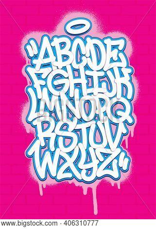 Colorful Graffiti Font Alphabet On Spray Paint Background. Vector Illustration