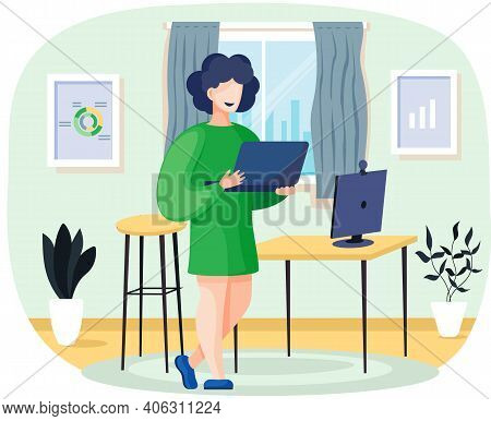 Office Woman Standing With Laptop. Businesswoman Or Clerk Working At Her Home Office Table Flat Illu