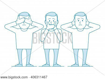 Three Wise Monkeys. One Man Covers His Mouth With His Hands, The Other Covers His Ears, The Third Ey