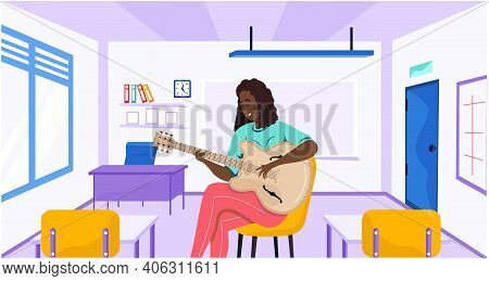 Woman Sitting With Guitar In Hands. Person Creates Music On Guitar At School. Musician Plays Strings
