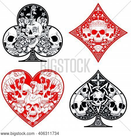 Vector Design Of Heart, Diamond, Clover And Ace Poker Symbols With Different Skull Designs.