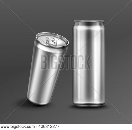 Aluminium Can For Soda Or Beer In Front And Perspective View. Vector Realistic Mockup Of Metal Tin C