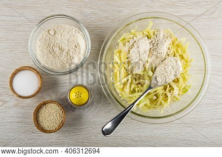 Bowl With Wheat Flour, Bamboo Bowls With Sesame And Salt, Pepper Shaker, Transparent Bowl With Blend