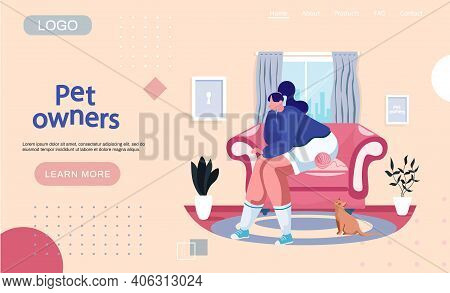 Owner Of Cat Is Resting At Home In Armchair. Animal Is Looking At Woman. Fun Time With Pet In Living