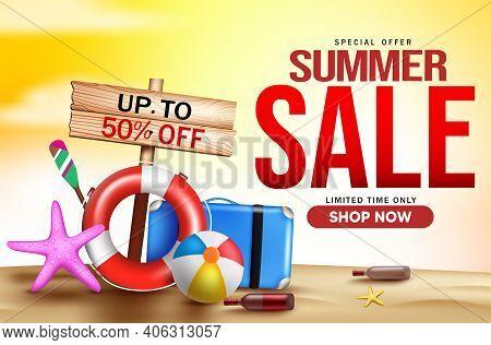 Summer Sale Vector Banner Design. Summer Sale 50% Off Text For Tropical Season Shopping Promo Advert