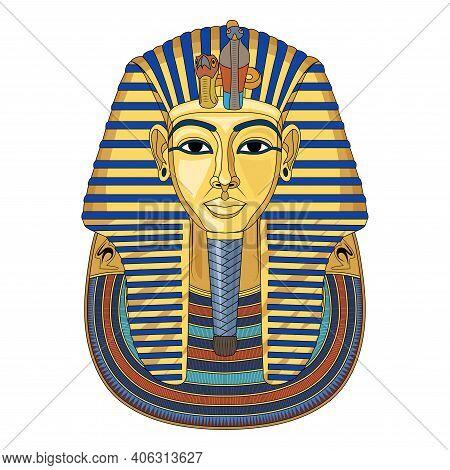 Mask Of Tutankhamun. Gold Mask. Living Image Of Amon. Valley Of The Kings In Egypt. King Tutankhamun