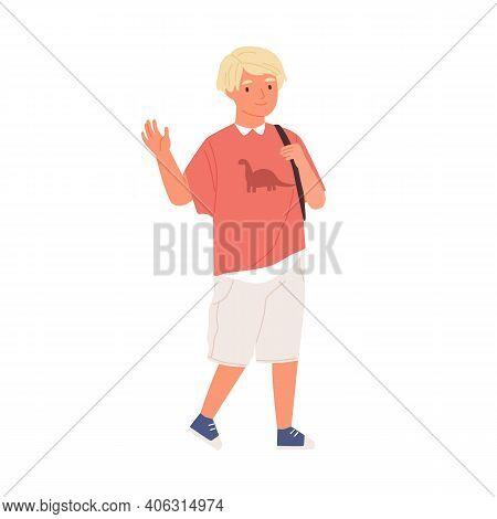 Smiling Boy Waving Hand And Saying Hi Or Bye. Schoolboy Walking And Carrying School Bag. Blonde Kid