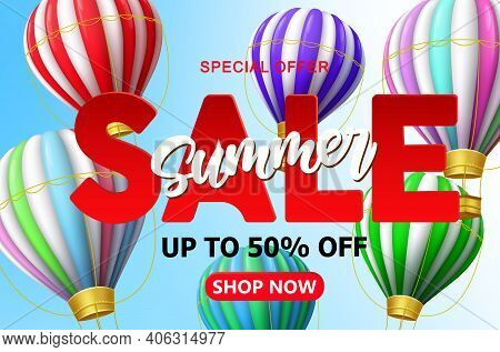 Summer Sale Vector Banner Background. Summer Sale 50% Off Text With 3d Colorful Hot Air Balloon And