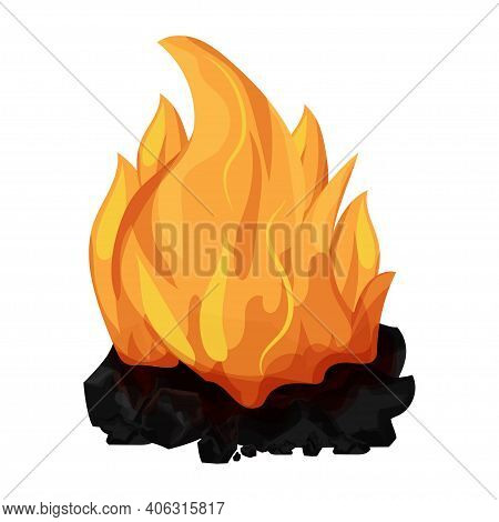 Burning Coal, Charcoal With Flame, Campfire In Cartoon Style Isolated On White Background. Mineral P