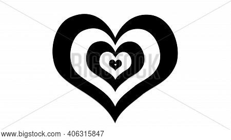Black And White Hearts With Illusion Effects, Sign And Symbol Of Love , Show Your Love For Valentine