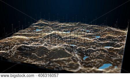 Concept Of Future User Interface, Dynamic Futuristic And Digital Procedural Landscape, Use It For Fu