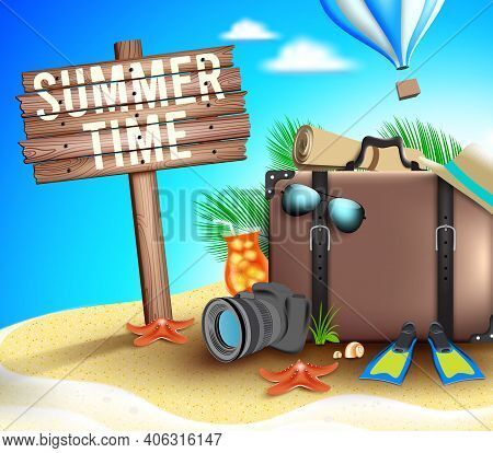 Summer Time Vector Concept Background. Summer Time Text In Beach Island With Elements Like Suitcase