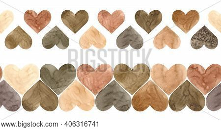 Watercolor Illustration Of Two Brown Hearts Seamless Borders. Valentines Day Endless Header. Scandin