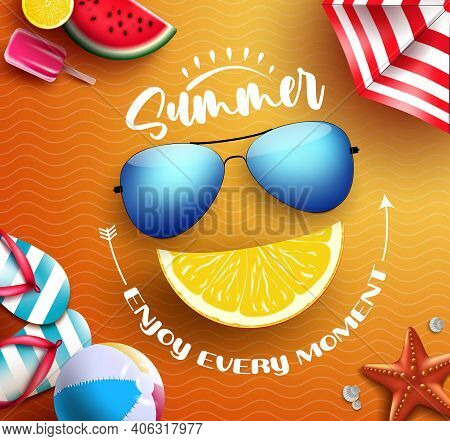 Summer Vector Concept Design. Summer Enjoy Every Moment Text With Tropical Elements Like Shades And
