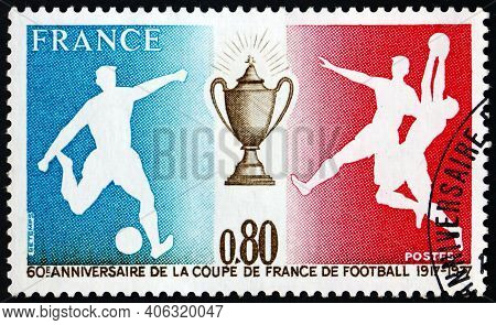 France - Circa 1977: A Stamp Printed In France Dedicated To Soccer Cup Of France, 60th Anniversary,
