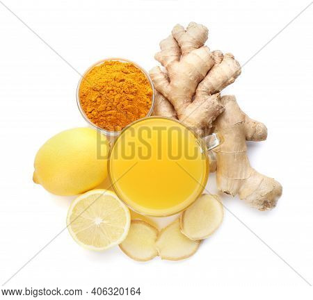 Immunity Boosting Drink With Ginger, Lemon And Turmeric On White Background, Top View
