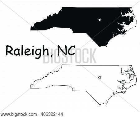 North Carolina Nc State Map Usa With Capital City Star At Raleigh. Black Silhouette And Outline Isol