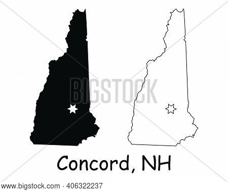 New Hampshire Nh State Map Usa With Capital City Star At Concord. Black Silhouette And Outline Isola