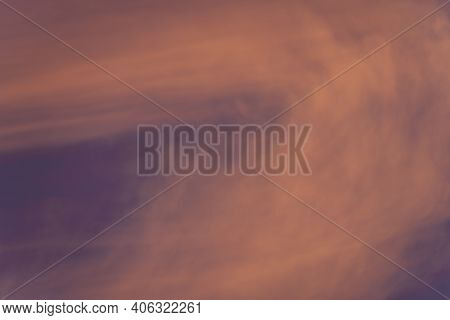 Cloud In The Sky At Sunset Texture Background. Red, Orange And Purple Abstract Shades. True High Res