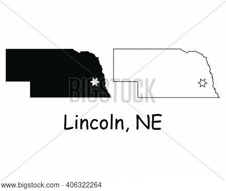 Nebraska Ne State Map Usa With Capital City Star At Lincoln. Black Silhouette And Outline Isolated O