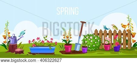 Spring Garden Vector Cartoon Nature Backyard Illustration, View With Fence, Flowerpots, Birds, Green
