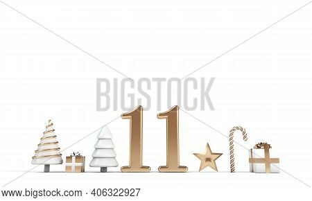 The 12 Days Of Christmas. 11th Day Festive Background. 3d Render