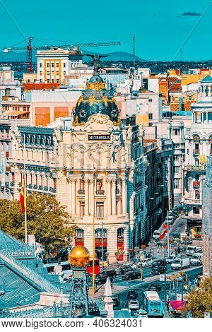 View Above On Gran Via Street In Madrid, At Day Time, Traffic, C